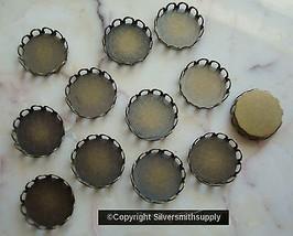 Bezel cups bronze plate 12mm round machine made gallery edge 12 bezel cu... - $2.51