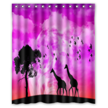 Africa Giraffe Shower Curtain Waterproof Made From Polyester - $29.07+