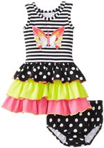 Bonnie Jean Baby Girls 3M-24M Black White Solid Stripe Dot Butterfly Tier Dress