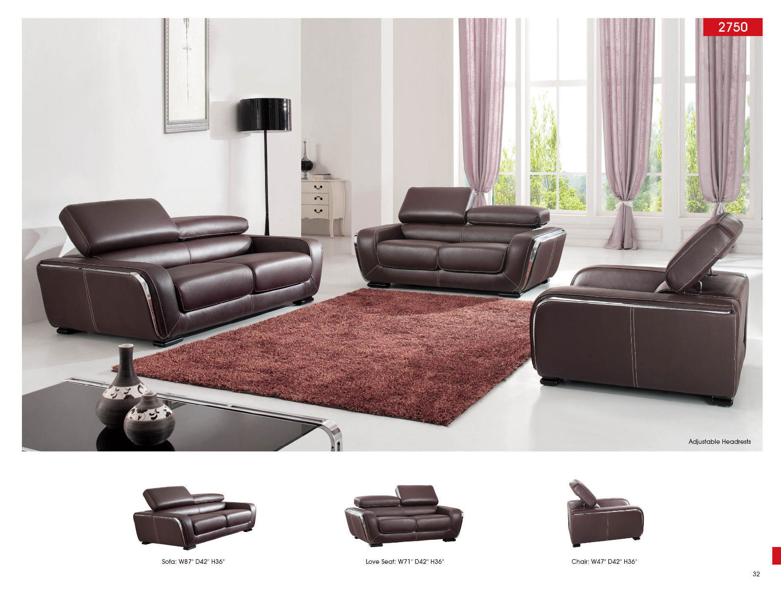 Chic Modern 2750 Italian Leather Sofa Living Room Set Contemporary