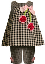 Baby Girl 3M-24M Black White Gingham Check Cherry Applique Dress/Capri Set