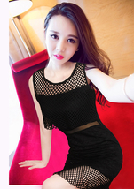 PF061 elegant Mesh & knitware step dress, stretchable, FREE SIZE, black - $18.80