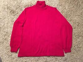 Lands End Women's Merino Wool Turtleneck Red Sweater, Sz L 14/16 Regular - $26.50