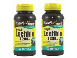 2 X 100 = 200 softgels SOY LECITHIN 1200 mg Soya Bean Liver support Deto... - $14.60