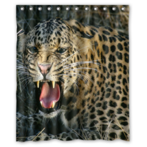 Angry Leopard Design #01 Shower Curtain Waterproof Made From Polyester - $29.07+