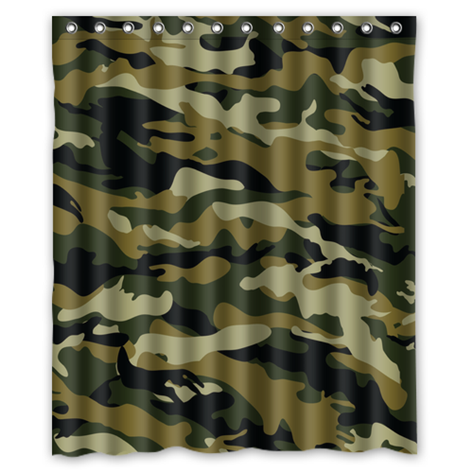 Army Camouflage Pattern Design #02 Shower Curtain Waterproof Made From Polyeste