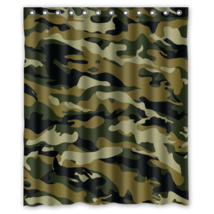 Army Camouflage Pattern Design #02 Shower Curtain Waterproof Made From Polyeste - $29.07+