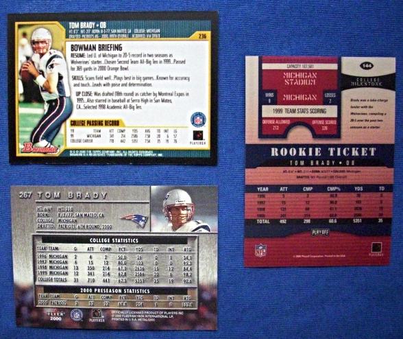 Lot of 3-Tom Brady (RC's) Repros #144/236/267`Fleer Metal/Bowman/R.Ticket Auto