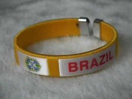 Brazil World Cup Football Sports Souvenir Bracelet Silicone - One Bracelet image 1