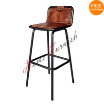 Industrial Bar Counter Stool Leather Seat Restaurant Bar Stools - $178.20