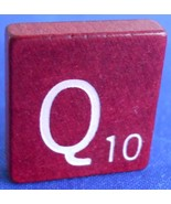 Single Maroon Scrabble Wood Letter Q Tile One O... - $0.99