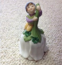 Avon Pixie on Flower Dinner Bell Vintage 1993 Porcelain 4 Leaf Clover Elf - $12.82