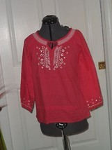 INTRO BLOUSE TOP SHIRT SIZE PM BEADED EMBROIDERED DARK PINK NWT - $15.45