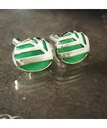 Vintage sterling jade cufflinks Vintage abstract Modernist SIGNED J&T fa... - $225.00