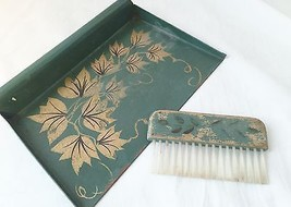 Antique Vintage European Butler crumb dust pan tray floral handpainted b... - $12.19