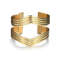 Starshiny Gold Tone Geometric Bracelet Punk Charm Metal Cuff Bangles for... - $19.21