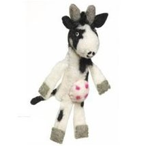 Fair Trade Finger Puppet Cow - Christmas Tree Ornament Dzi Wild Woolie - $10.99