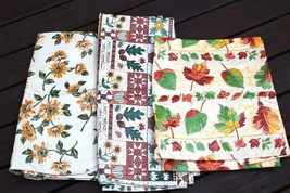Vintage Plastic Soft Backing Autumn Fall Table Cloth Cover Lot 3; 52 x 9... - $24.74