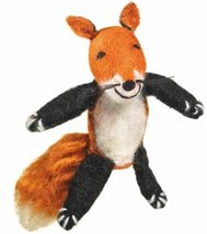 Fair Trade Finger Puppet Fox Christmas Tree Ornament Dzi Wild Woolie - $10.99