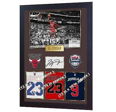 Michael Jordan NBA Chicago Bulls Signed Autograph Print photo JORDAN Framed