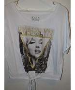 Marilyn Monroe Juniors T Shirt Size L NWT White Tie in Front - $13.99