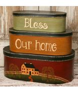 8B2932-Bless This House Nesting Boxes set of 3 Paper Mache' - $29.95