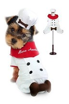 "Chef Uniform Costume For Dogs ""Bone Appetite"" Red Scarf and 3D Bone Atta... - $36.43+"