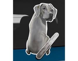 Weimaraner dog rear window wiper wagging tail sticker - $12.99