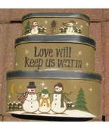 B11SML-Snowman set of 3 boxes Paper Mache' - Love Will Keep Us Warm  - $18.95