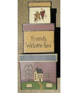 B14FWH-Friends Welcome Boxes set of 3 boxes paper mache' - $19.95