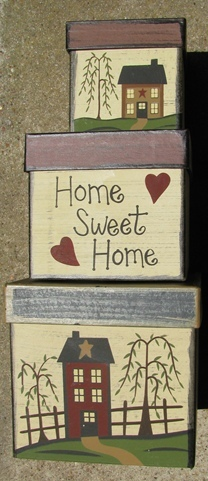 Primary image for  B15HSH- Home Sweet Home s/3 Boxes Paper Mache'