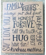32996-Family Rules Wood Primitive Box Sign  - $9.95