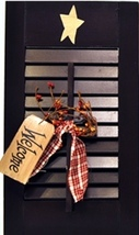 45316B - Wood Shutter Black Primitive with Welcome Tag, Ribbon and Berries - $14.95