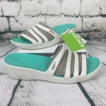 CROCS Women's Sz 11 Rhonda Wedge Platinum Oyster Island Green Slip On Sandals - $29.41+