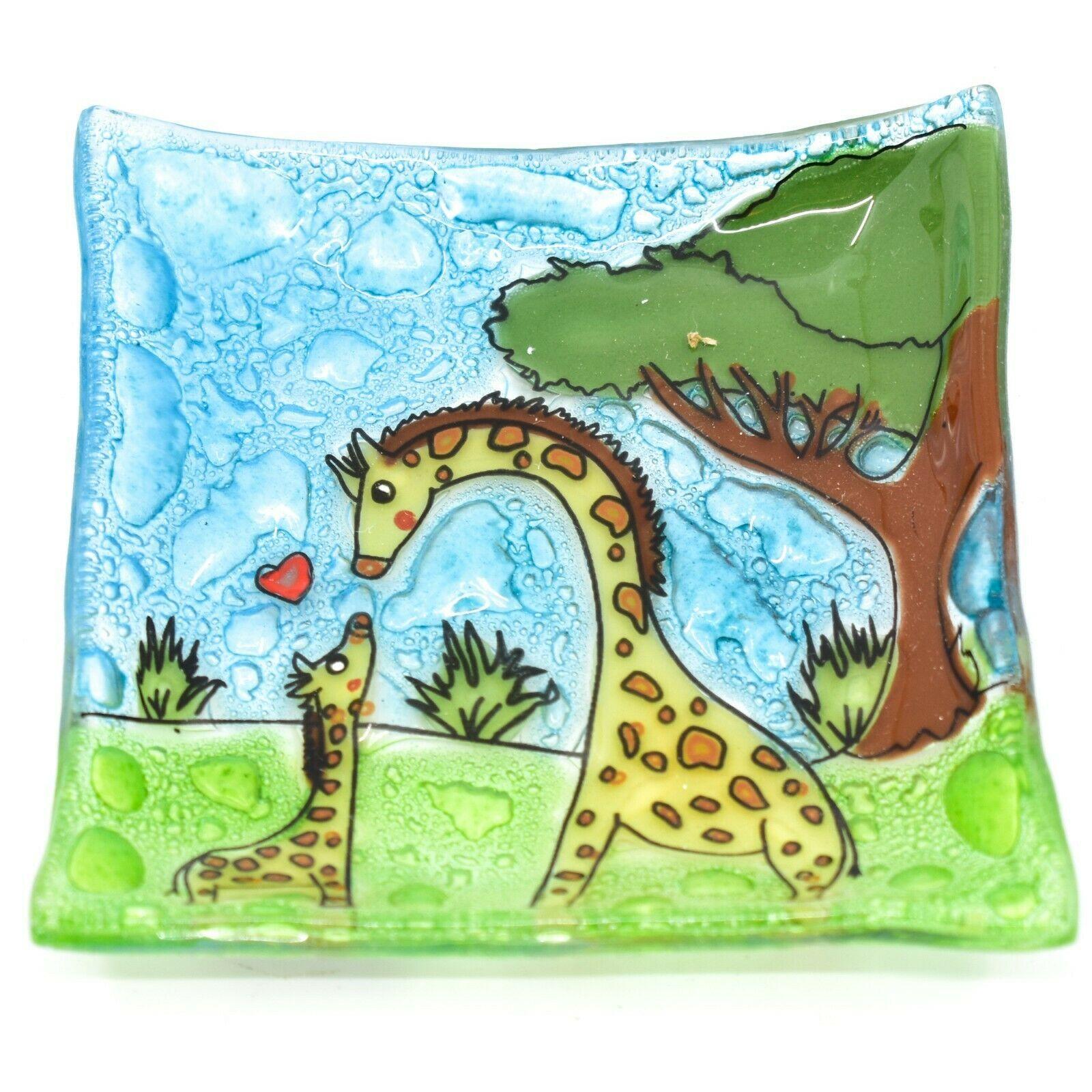 Fused Art Glass Giraffe Mom & Baby Design Square Soap Dish Handmade Ecuador