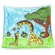 Fused Art Glass Giraffe Mom & Baby Design Square Soap Dish Handmade Ecuador image 1
