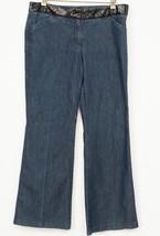 Express Editor Jeans 12 Blue Denim Sequin Embellished Wide Leg Design St... - $11.97