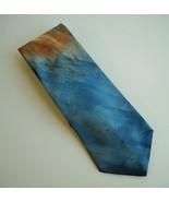 Hand Made Abstract Neck Tie 100% Italian Silk Blue Amber Burgundy Mens N... - $34.00