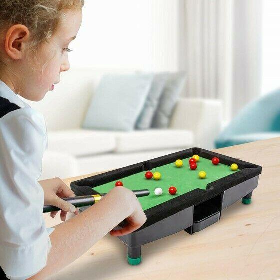 "9"" Travel Mini Pool Table 2 Sticks 16 Balls & Rack Kids / Office Desk Decoration image 4"