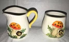 Vntg 1978 Merry Mushroom Creamer Small Pitcher & Sugar Bowl Sears Roebuc... - $13.85