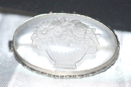 Vintage Art Deco Czechoslovakia Etched Crystal Brooch - $28.00