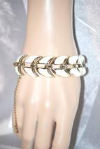Vintage Coro Creamy White Enamel Flat Bracelet - $18.00