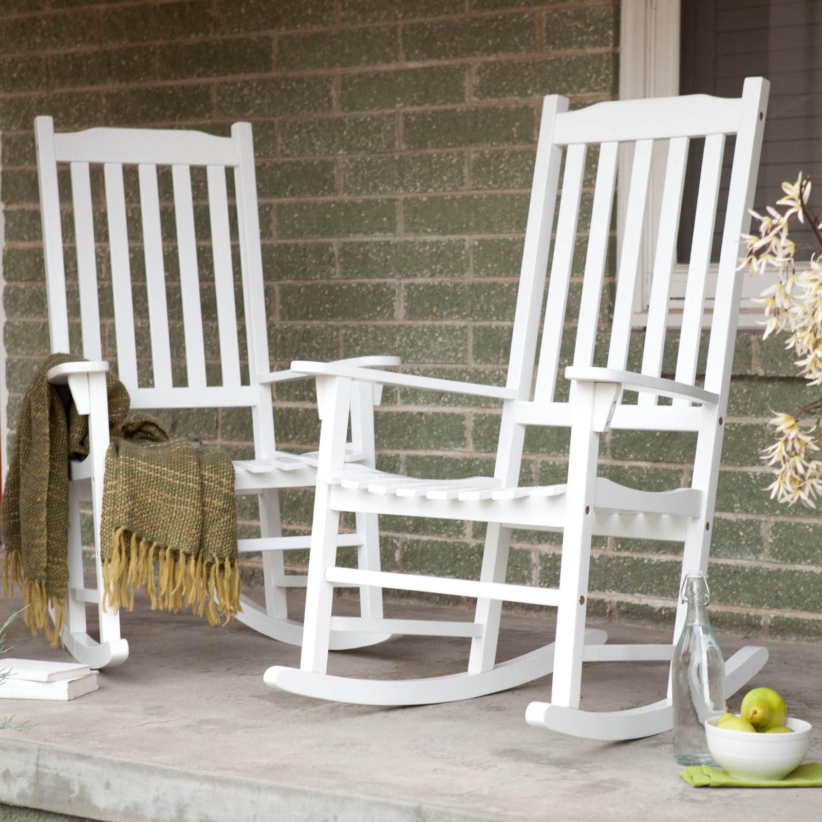 Wooden Rocking Chairs Home Indoor Outdoor Living Room Porch White Wood ...
