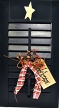 45316L - Wood Shutter Dark Navy Blue Primitive w/ Welcome Tag Ribbon and... - €13,61 EUR