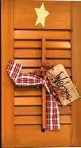 45316N - Wood Shutter Natural Primitive with Welcome Tag, Ribbon and Berries - $14.95