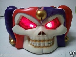 """JESTER SKULL with RED LED EYES Figurine / Ashtray 2.5"""" H x 6"""" L x 5"""" W (... - $6.35"""