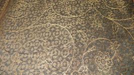 Brown Beige Swirl Flower Print Chenille Upholstery Fabric 1  Yard  F727 - $29.95