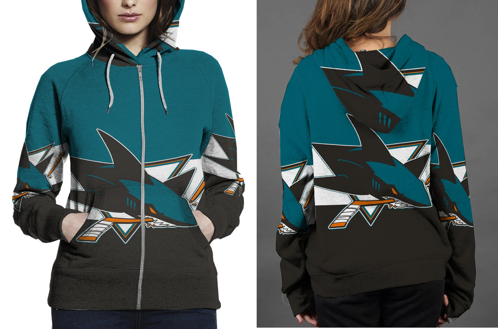 San jose shark hoodie zipper fullprint for women