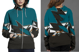 San Jose Shark HOODIE ZIPPER FULLPRINT FOR WOMEN - $47.99+