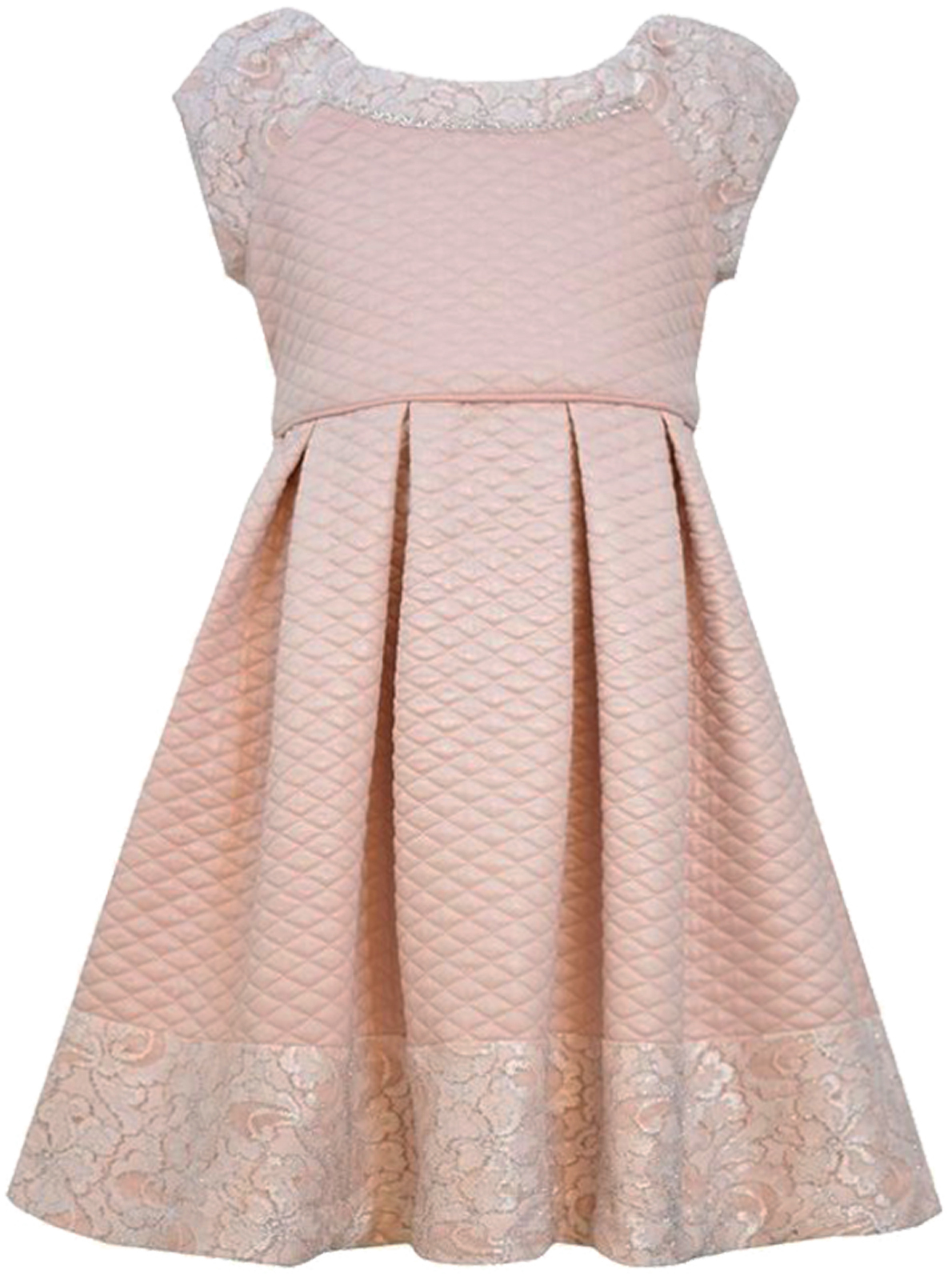 Bonnie Jean Little Girls 2T-6X Pink Foil and Lace Quilted Box Pleat Social Dress